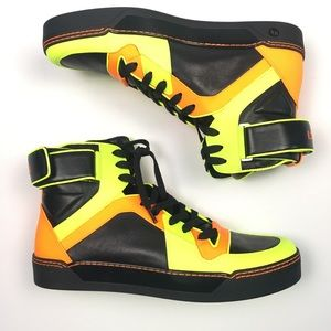 Gucci Men's Leather Sneakers Orange Black 11.5